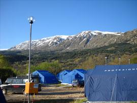 Campo di San Benedetto di Bagno gestito dalla COPCSV.Emergenza sisma Abruzzo,6 aprile 2009.