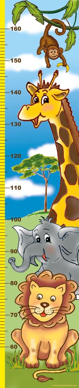 niedliche Kindermesslatte mit Tiere Afrikas, Löwe, Elefant, Giraffe und Äffchen -  auf Posterpapier gedruckt oder als Wandaufkleber