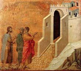 Duccio : Maestà : le chemin d'Emmaüs. 1308-1311. Tempera sur bois, 51 x 57 cm. Sienne, musée de l'Œuvre du Dôme