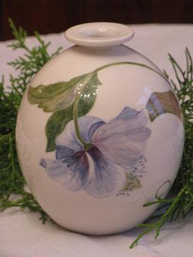 Vase: Blauer Hibiskus (verkauft)
