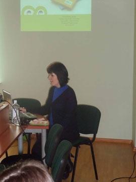 Logopedė metodininkė Kristina Prakopienė seminaro metu.