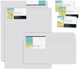 On letterhead and proposal cover, label gets folded over to the back of the sheet. On envelope, label gets folded over to the back flap.
