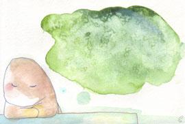 かんがえごと/ネオピコライン 塩 透明水彩 2011,7.19