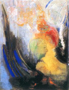 オディロン・ルドン「翼のある横向きの鏡像(スフィンクス)」1898-1900年頃、岐阜県美術館