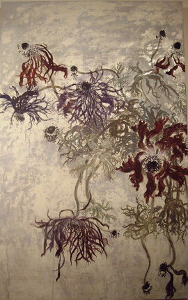 Faded Anemones (Painting, Japanese paper, Silver leaf, Pigments, Glue)