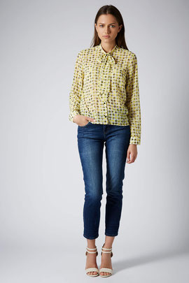 Topshop yellow gingham blouse