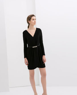 Zara black belted dress