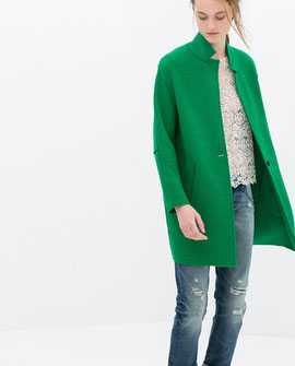Green wool coat Zara