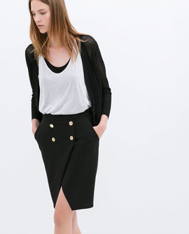 Zara black button detail pencil skirt