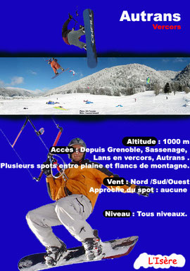 les spots de snowkite par le shop kitesandboards, magasin de snowkite a grenoble