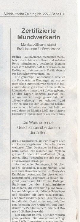 Süddeutsche Zeitung, Regionalteil Erding vom 1. Oktober 2011, von lpm
