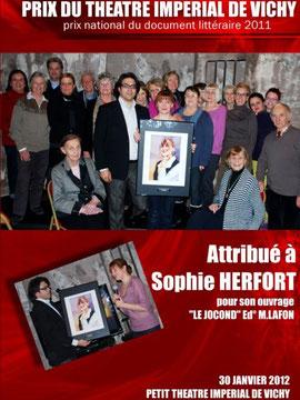 Remise du Prix du petit Théâtre Impérial de Vichy, le lundi 30 /01/12
