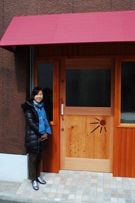 カフェ 木製玄関ドア
