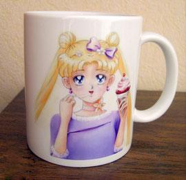 Пример кружки Sailor Moon с моим рисунком. Рисунок нанесен с помощью сублимации.