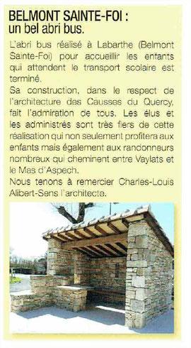 Abribus Belmont Sainte Foi architecte Lalbenque Limogne Sud du Lot Quercy