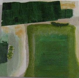 Nr. 2007-HO-010: 50 x 50 cm, Collage, Acryl, grüner Pfefferauf MDF