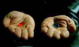 Le choix du chemin de l'âme (photo extraite du film Matrix)