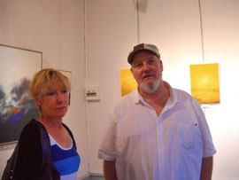 avec la peintre anne vautour -expo seix ( ariège ) 2011