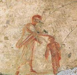 Bautismo de Cristo, esta vez aparece como niño.
