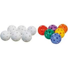 Lot de 6 balles en plastique moulé pour jeux de unihockey des enfants.