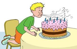 """Nelas Bruder Robin bläst seine Geburtstagskerzen aus! aus """"Papa, trinkst du heute eine Tasse Luft?"""""""