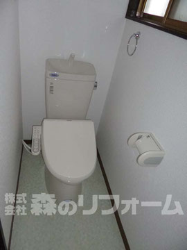 柏市まるごとリフォーム トイレ施工後 便器交換 クロス クッションフロア貼替