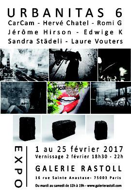 Urbanitas 6, une exposition qui réunissait 6 artistes : CarCam, Hervé Chatel, Romi G, Edwige K, Sandra Städeli, Laure Vouters et le céramiste Jérôme Hirson