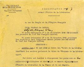 Ordonnance n° 7 du 16 novembre 1940. (Ordre de la Libération)