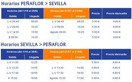 Horario de autobuses Peñaflor-Sevilla