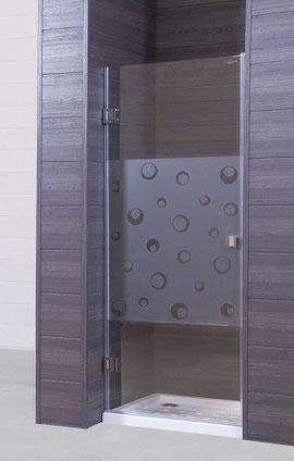 Mampara de ducha frontal de una hoja abatible y vidrio templado