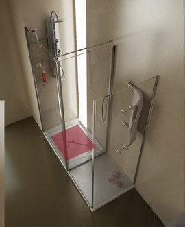 Mampara de ducha con vestidor