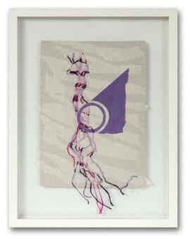 Handgeschöpfte Papiercollage - Baumwoll- und Abakafasern, Fadeneinschlüsse, 30 x 40 cm