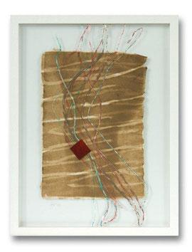 Handgeschöpfte Papiercollage - Flachs- und Abakafasern, Fadeneinschlüsse,  30 x 40 cm