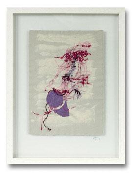 Handgeschöpfte Papiercollage - Baumwoll- und Abakafasern, 30 x 40 cm