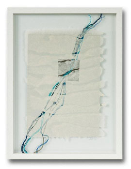 Handgeschöpfte Papiercollage - Baumwoll- und Abakafasern mit Fadeneinschlüssen, 30 x 40 cm