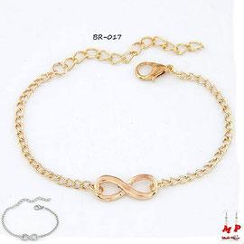 Bracelet infini en métal doré ou argenté