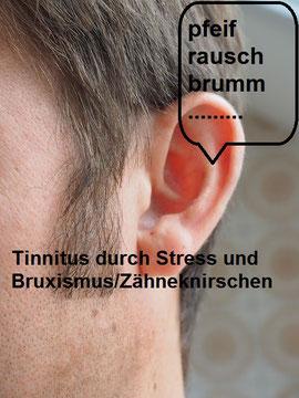 Ohr mit pfeifenden Gräuschen eines Mannes, Stress und Entspannung, EMDR, Trauma-Therapie, PTBS, Rosacea, Neurodermitis, Psoriasis, Psychotherapie