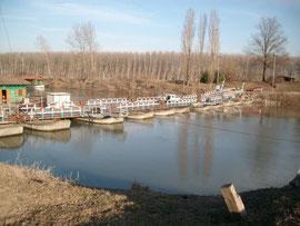 Ponte delle barche sul fiume Oglio