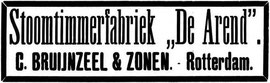 "advertentie  - Stoomtimmerfabriek ""De Arend"" in Rotterdam. In de as gelegd in 1919."