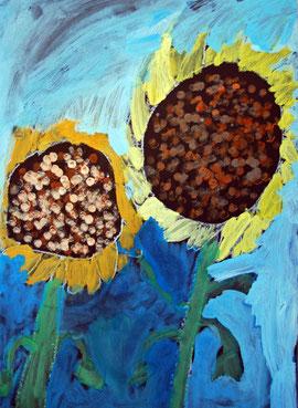 Sonnenblumen malen mit Deckfarben