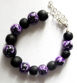 Armband mit Imitation Lava schwarz und lila Stiefmütterchen