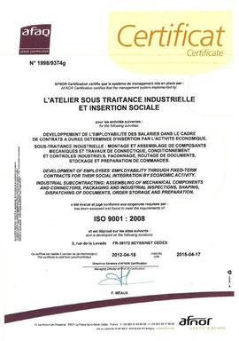 L'ATELIER SIIS Entreprise d'insertion certifiée ISO 9001