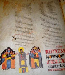 Extrait d'un livre du 10ème siècle au musée du panthéon San Isidore à León (Castille y León / Espagne)