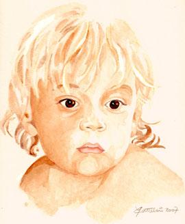 portrait d'enfant à l'aquarelle uniton