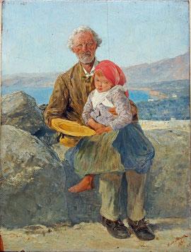 Hans Meyer, Bettler bei Sorrent 1889, Öl auf Holztafel, 25x19cm