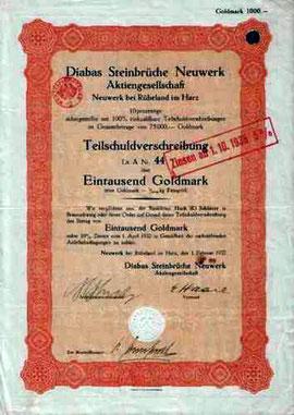 Aktie der Diabas Steinbrüche Neuwerk von 1932