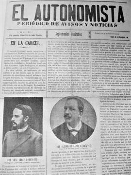 """Die republikanische Zeitung """"El Autonomista"""" aus Girona berichtet über die Einlieferung der Gebrüder López Rodríguez ins Gefängnis von Figueres"""