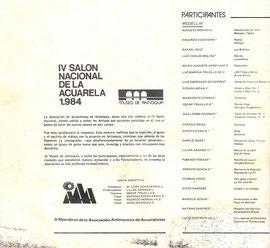 IV Salón Nacional de la Acuarela 1984, Museo de Antioquia. Medellín, Colombia.