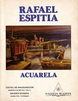 """Galeria Skandia. Rafael Espitia """"ACUARELA"""" Inauguración Septiembre 1987. Bogotá, Colombia."""