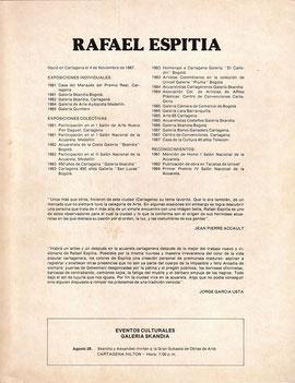 EVENTOS CULTURALES. August 28th 1987. Skandia y Aexandes invites to Art Exhibition Auction. HOTEL CARTAGENA HILTON. Cartagena de Indias, Colombia.